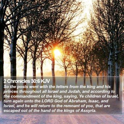 2 Chronicles 30:6 KJV Bible Verse Image