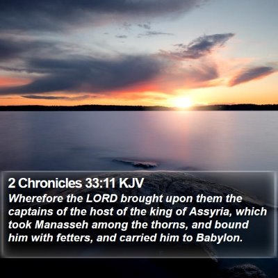 2 Chronicles 33:11 KJV Bible Verse Image