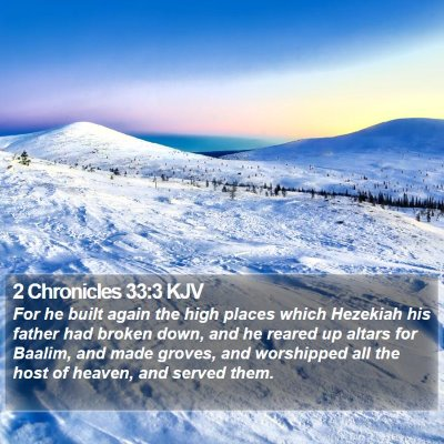 2 Chronicles 33:3 KJV Bible Verse Image