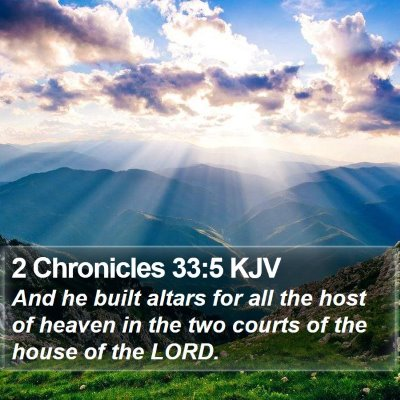 2 Chronicles 33:5 KJV Bible Verse Image