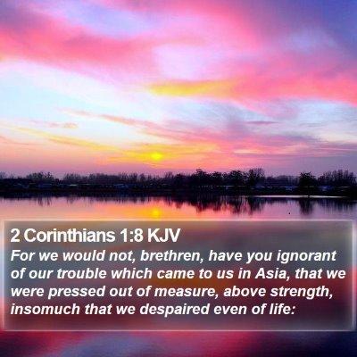 2 Corinthians 1:8 KJV Bible Verse Image