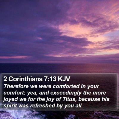 2 Corinthians 7:13 KJV Bible Verse Image