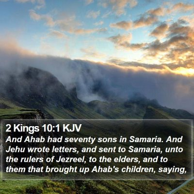 2 Kings 10:1 KJV Bible Verse Image