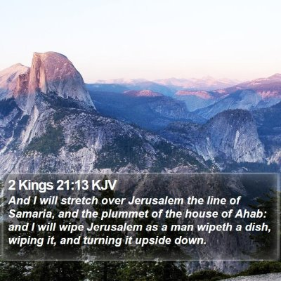 2 Kings 21:13 KJV Bible Verse Image