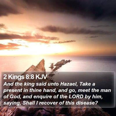 2 Kings 8:8 KJV Bible Verse Image