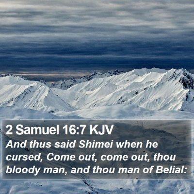 2 Samuel 16:7 KJV Bible Verse Image