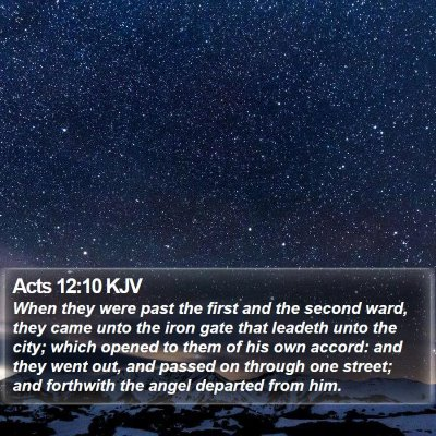 Acts 12:10 KJV Bible Verse Image
