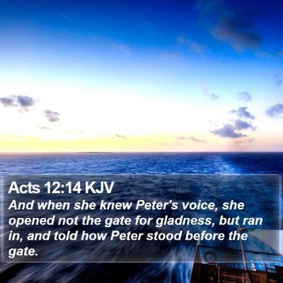 Acts 12:14 KJV Bible Verse Image