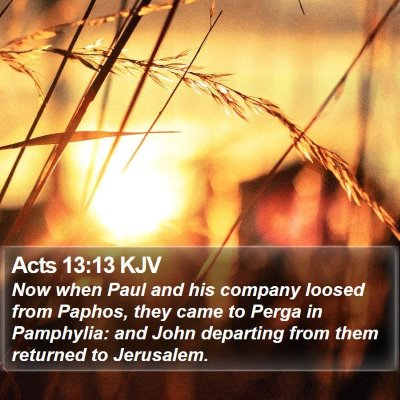 Acts 13:13 KJV Bible Verse Image