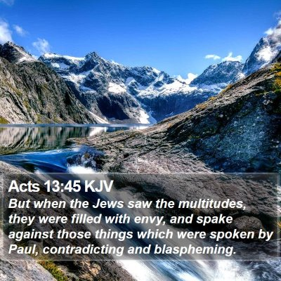 Acts 13:45 KJV Bible Verse Image