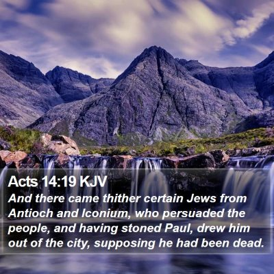 Acts 14:19 KJV Bible Verse Image