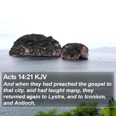 Acts 14:21 KJV Bible Verse Image