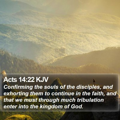 Acts 14:22 KJV Bible Verse Image
