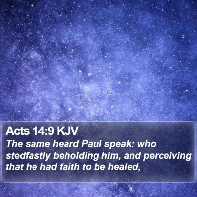 Acts 14:9 KJV Bible Verse Image