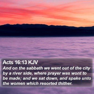 Acts 16:13 KJV Bible Verse Image