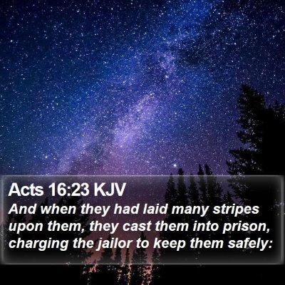 Acts 16:23 KJV Bible Verse Image