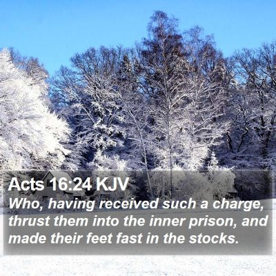 Acts 16:24 KJV Bible Verse Image