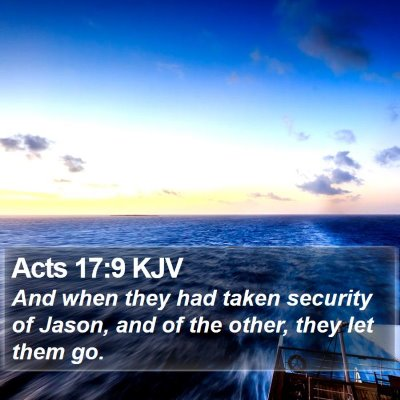 Acts 17:9 KJV Bible Verse Image