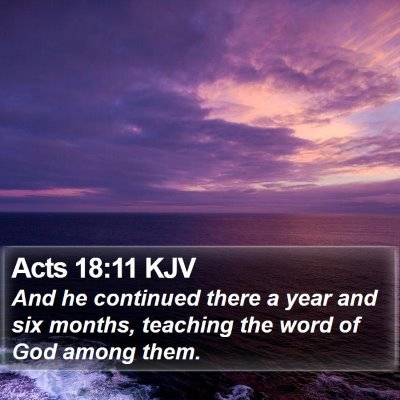 Acts 18:11 KJV Bible Verse Image
