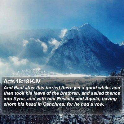 Acts 18:18 KJV Bible Verse Image