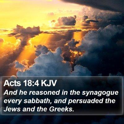 Acts 18:4 KJV Bible Verse Image