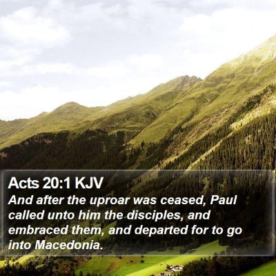 Acts 20:1 KJV Bible Verse Image