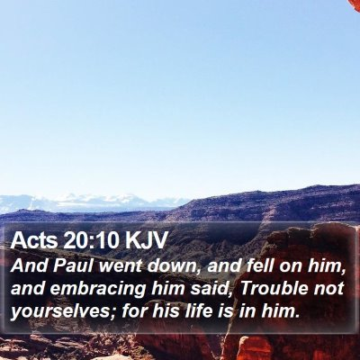 Acts 20:10 KJV Bible Verse Image