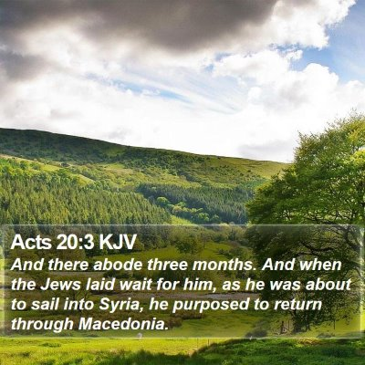 Acts 20:3 KJV Bible Verse Image