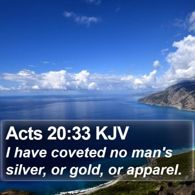 Acts 20:33 KJV Bible Verse Image