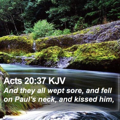 Acts 20:37 KJV Bible Verse Image