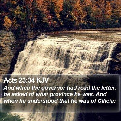 Acts 23:34 KJV Bible Verse Image