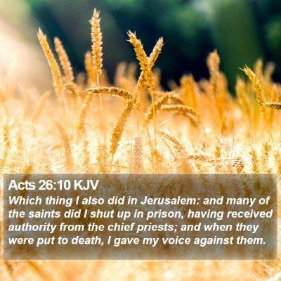 Acts 26:10 KJV Bible Verse Image