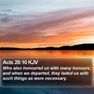 Acts 28:10 KJV Bible Verse Image