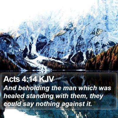 Acts 4:14 KJV Bible Verse Image