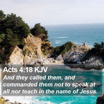 Acts 4:18 KJV Bible Verse Image