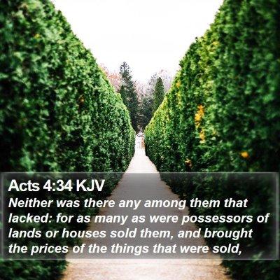 Acts 4:34 KJV Bible Verse Image