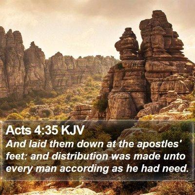 Acts 4:35 KJV Bible Verse Image
