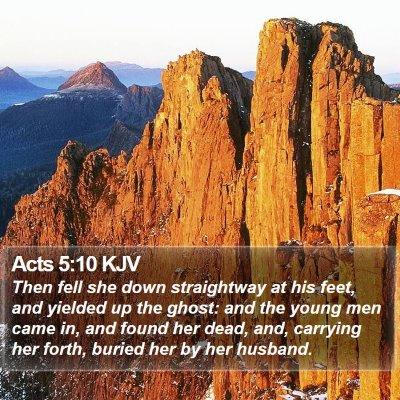 Acts 5:10 KJV Bible Verse Image