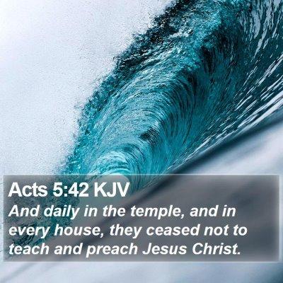 Acts 5:42 KJV Bible Verse Image