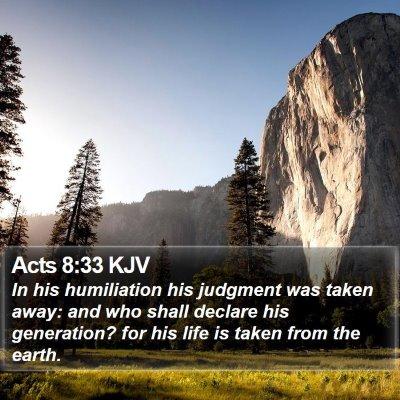 Acts 8:33 KJV Bible Verse Image