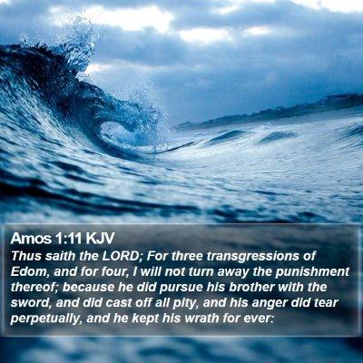 Amos 1:11 KJV Bible Verse Image