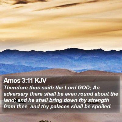 Amos 3:11 KJV Bible Verse Image