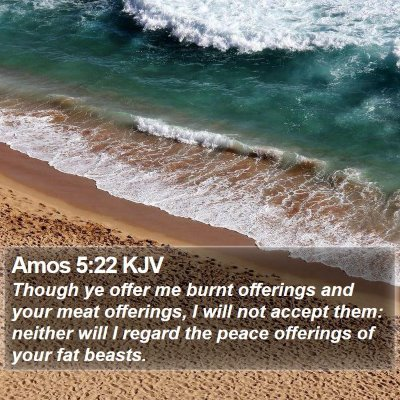 Amos 5:22 KJV Bible Verse Image