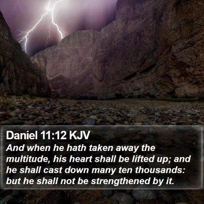 Daniel 11:12 KJV Bible Verse Image