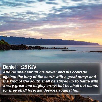 Daniel 11:25 KJV Bible Verse Image