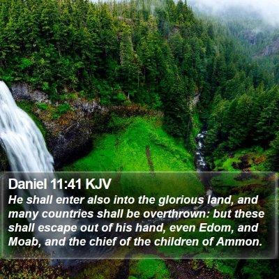 Daniel 11:41 KJV Bible Verse Image