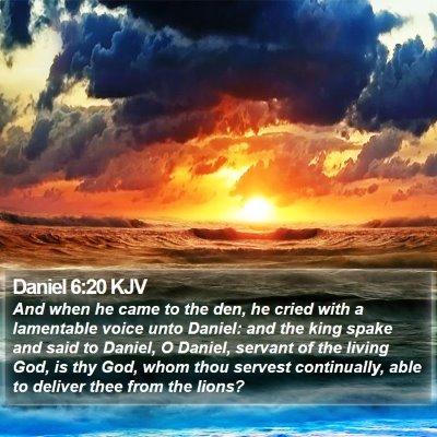 Daniel 6:20 KJV Bible Verse Image