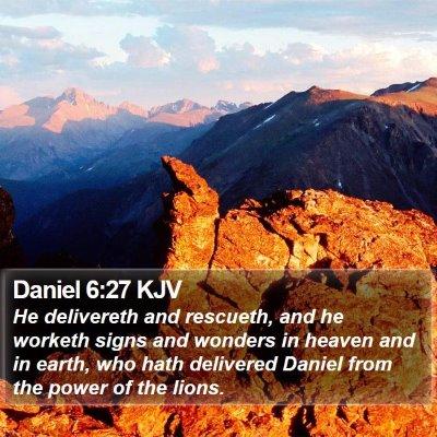 Daniel 6:27 KJV Bible Verse Image
