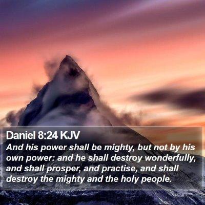 Daniel 8:24 KJV Bible Verse Image