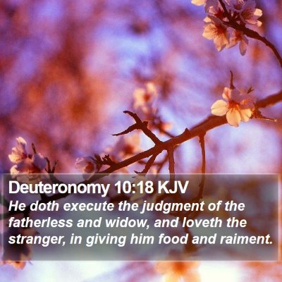 Deuteronomy 10:18 KJV Bible Verse Image